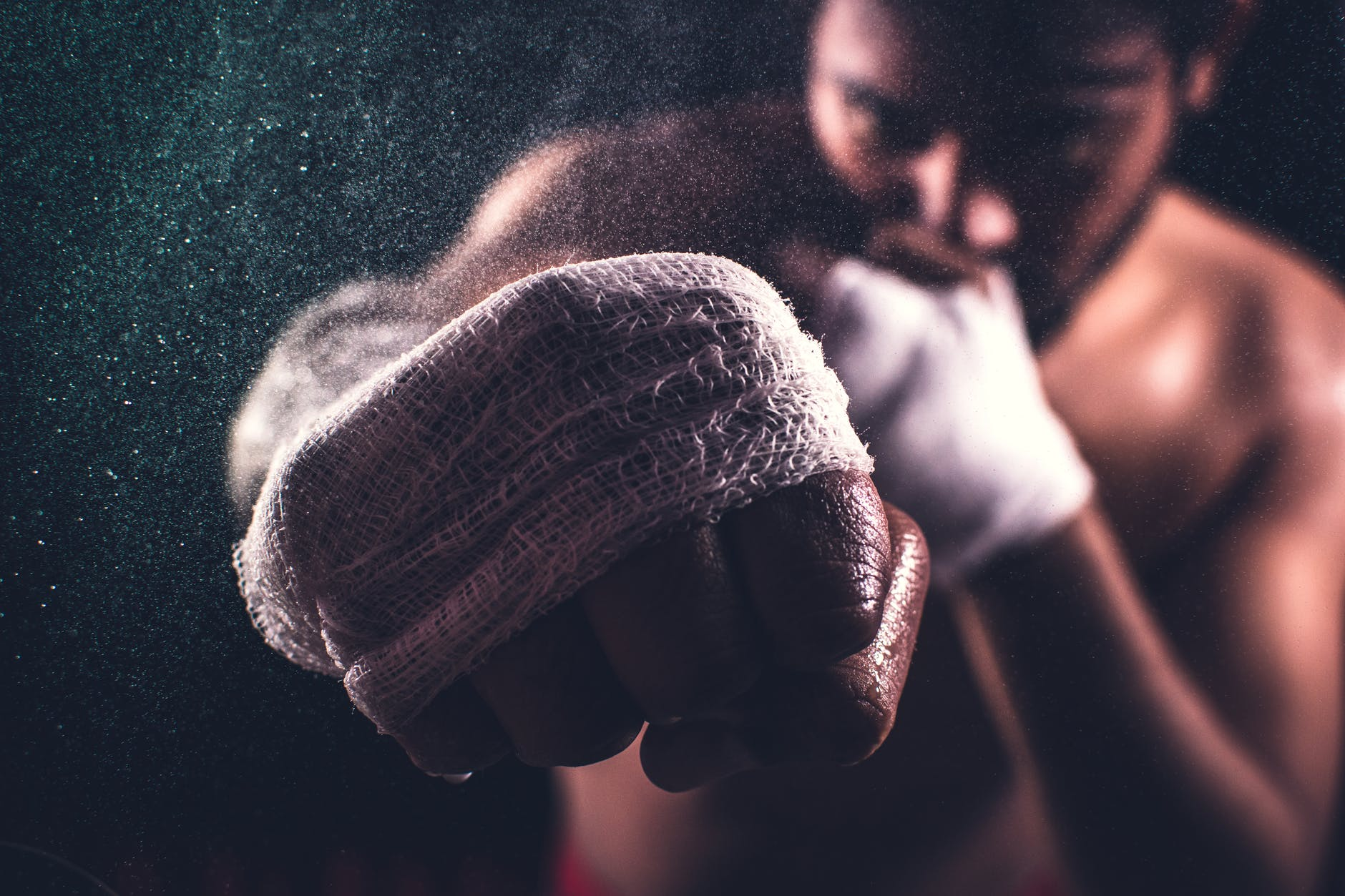 selective focus of a boxer s fist